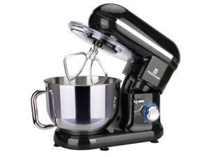5.8QT 6 Speed Control Electric Stand Mixer with Stainless Steel Mixing Bowl Food Mixer (Black)