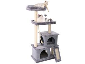 Cat Tree Multilevel and Luxury Cat Towers 50 Inches with 2 Condos, Spacious Perches, Scratching Post, Dangling Balls and Ramp