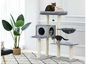5 Levels Modern Cat Tree, Varied Styles Cat Tower with 7 Sisal Scratching Posts, Deep Hammock and Extra-Large Perch