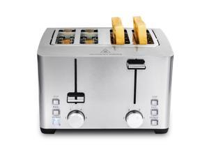 Toaster 4 Slice, Stainless Steel Extra-Wide Slot Toaster with Dual Control Panels of Bagel/Defrost/Cancel Function, 6 Toasting Bread Shade Settings, Removable Crumb Trays, Auto Pop-Up, 1500W