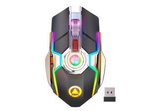 Bobora A5 Wireless Gaming Mouse 1600DPI ESports Gaming Mechanical Mouse RGB Light-emitting Mute 4 Lighting Effects Switch Mouse for League of legends PlayerUnknown's Battlegrounds etc
