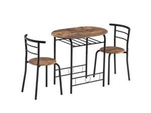 Fire Wood PVC Black Paint Breakfast Table for Couples with Curved Back (One Table and Two Chairs) (31 x 20.75 x 29.5inch,  15.5 x 14.8 x 30inch)