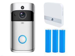 Wireless Video Doorbell, Waterproof WiFi Doorbell Security Camera with Chime, Cloud Storage, Two-Way Talk, PIR Motion Detection, Night Vision 1280×720P