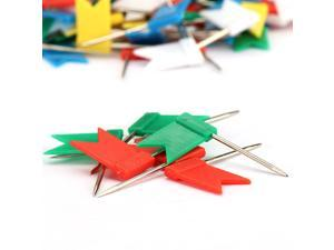 160pcs Map Flag Push Pins Tacks Steel Tacks with Plastic Flags Head for Travel Map Cork Board Bulletin (7 Boxes of Solid Color + 1 Box Mixed Color )