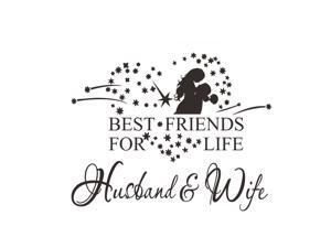 Valentine's Day Wall Stickers 58x46cm Husband Wife Wall Art Decals for Couples Bedroom Living Room (Black)