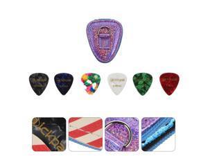 Portable Guitar Pick Holder Case Bag with 6pcs Acoustic Electric Guitar Picks