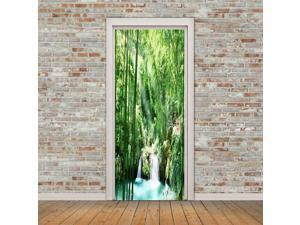 3D Forest Waterfall Door Sticker Self Adhesive Removable Door Wall Mural Wallpaper for Home Decoration