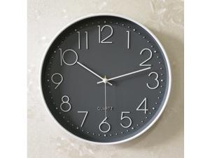 Plastic Living Room Digital Clock Decorative Home Quartz Clock Modern Wall Clock Fashion Hanging Timer (Grey Frame White Background Without battery)