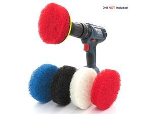 4pcs 4 Inches Electric Drill Brush Round Scrubber Cleaning Brushes Drill Cleaning Brush Attachments (Blue)