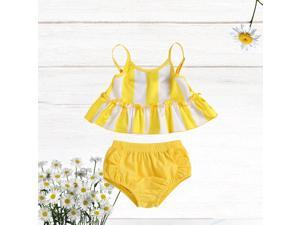 Kids Two-pieces Split Swimsuit Summer Baby Girl Swimwear Swimming Clothes Bathing Suit (Yellow, Size 80cm)