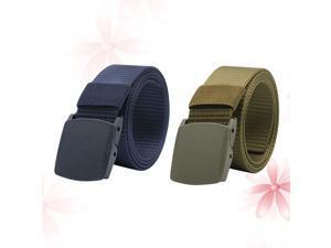 2 Pcs Canvas Belt Lightweight Waist Band Plastic Buckle Adjustable Ourdoor Training Waist Webbings(Black + Green)