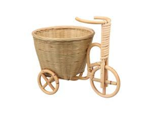 1PC Handmade Bamboo Woven Storage Basket Tricycle Shape Storage Holder Container for Fruit Candy (Style A)