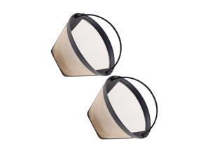 Reusable Coffee Filter Cone Shape Coffee Filter Mesh Basket (Golden)
