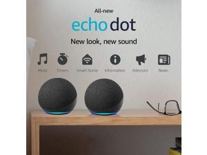 2PCS Echo Dot (4th Gen) | Smart Speaker with Alexa | Charcoal
