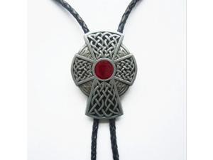 Mens Womens Metal Western Multicolor Celtic Ornamentn Black Leather Rope Necklace Poirot Tie
