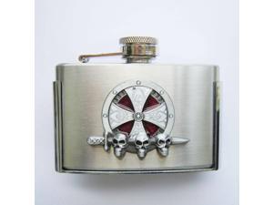 Enamel Cross Celtic Knot 3oz Stainless Steel Flask Belt Buckle
