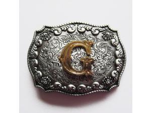 Western Men's Zinc alloy Leather Belt Buckle Cowboy Letter G shape Pattern