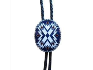 Mens Womens Metal Western Southwest Blue And White Plaid Black Leather Rope Necklace Poirot Tie