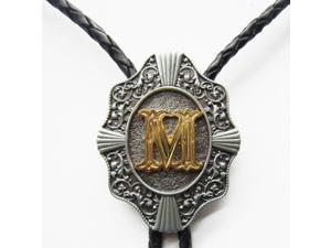 Mens Womens Metal Western Initial Letter M shape Black Leather Rope Necklace Polo Tie
