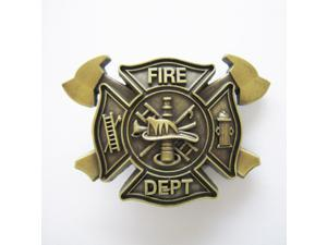 Western Men's Zinc alloy Leather Belt Buckle Plated Firefighter Cross Pattern