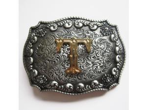 Western Men's Zinc alloy Leather Belt Buckle Cowboy Letter T shape Pattern