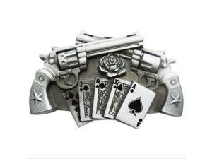 Western Men Zinc alloy Leather Belt Buckle Silver Double Gun Pattern