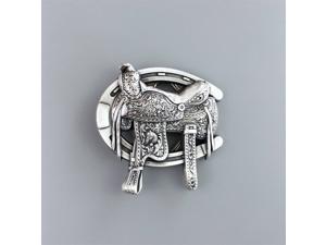 New Original Vintage Silver Plated Western Saddle Horse Shoe Belt Buckle