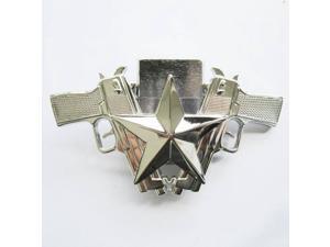 New Bright Silver Guns Star Lighter Belt Buckle