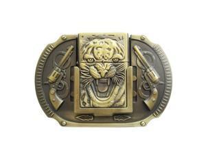 New Vintage Bronze Plated Tiger Guns Lighter Belt Buckle