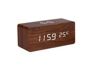 Ochine Multifunctional Digital Wooden Alarm Clock With Wireless Charging Function, 3 Alarm LED Displays, Sound Control And Snooze, Brightness Adjustable
