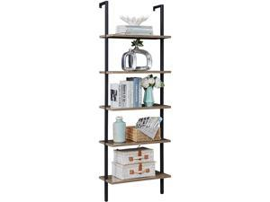 Ochine 5-Tier Wood Wall-Mounted Bookcase with Stable Metal Frame, 70 Inches Storage Rack Shelves Display Plant Flower, Stand Bookshelf for Home Office