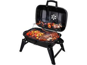 Ochine Portable Charcoal Grill BBQ and Smoker with Lid Folding Tabletop Grill for Camping Patio Backyard Outdoor Cooking, Black