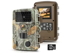 """KUFA Trail Game Camera 20MP 1080P with 32GB SD Card, Hunting Camera w 3 Infrared Sensors 2.4"""" LCD 47pcs No Glow Night Vision IR LEDs 120° Detection Motion Activated Range for Wildlife Scouting Digital"""