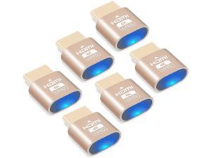4K HDMI virtual plug, headless ghost display simulator, 3840x2160@60Hz high resolution virtual display display adapter, suitable for Ethereum ETH ZEC BTC mining, compatible with Windows Mac OSX-6 pack