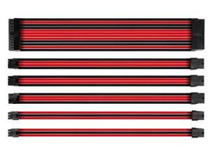 Sleeved Cable, 18AWG Braided ATX EPS PCI-E PSU Extension Cable Kit for CPU GPU Modular Power Supply Unit, 30CM (New_Red_Black)