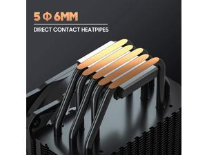 CPU Cooler with 5 Direct Contact Heatpipes, ARESGAME RIVER 5 CPU Air Cooler for Intel/AMD with 120mm SYNC ARGB PWM Fan (5V ARGB HEADER Is Required on Motherboard)