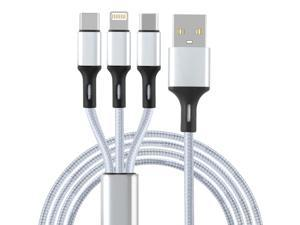 Multi Charging Cable 4Ft 3 in 1 Nylon Braided Multiple USB Charging Cord Type C/Micro USB Connector Compatible with Galaxy S8, Tablets and More( grey )