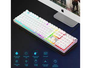 RGB Gaming Keyboard USB Wired Mechanical Keyboard LED Backlit Water Resistant Compatible with Desktop pc Computer Windows Linux Ps4 Xbox one Mac