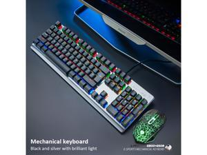 RGB Mechanical Gaming Keyboard Wired 104 Key Aluminium Alloy Wire Drawing Keyboard and Mouse 2 in 1 LED Backlit Water Resistant Compatible with Desktop PC Computer Windows Linux Ps4 Xbox one Mac