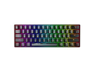 Compact RGB Wireless Mechanical Keyboard, 61 Keys TKL Designed 5.0 Bluetooth Gaming Keyboard with Blue Switches and 16.8 Million RGB Lighting USB Type-C Interface for PC, Laptop