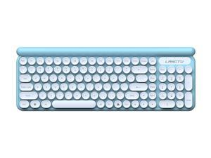 Wired Keyboard, Slim Ergonomic Quiet Keyboard and Mouse with Round Keys for Windows, Laptop, PC, Notebook, Non-Mute (Cyan)