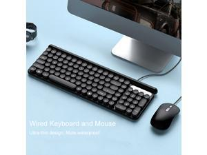 Keyboard and Mouse Combo,Compact Quiet Full Size Wired Keyboard and Mouse Set Ultra-Thin Sleek Design for Windows, Computer, Desktop, PC, Notebook, Laptop