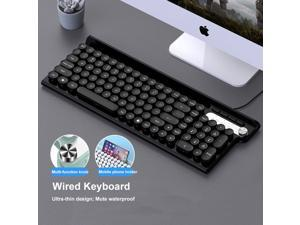 Wired Keyboard, Slim Ergonomic Quiet Keyboard With Multi-function Knob for Windows, Laptop, PC, Notebook, Non-Mute (Cyan)