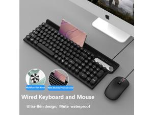 Keyboard and Mouse Combo ,Multi-function Knob Keyboard Compact Quiet Full Size Wired Keyboard and Mouse Set Ultra-Thin Sleek Design for Windows, Computer, Desktop, PC, Notebook, Laptop