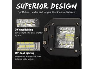 1PC 5 Inches Embedded SUV Working Light Universal LED Car Lamp Auto Refitting Work Lamp Truck LED Auxiliary Lamp Three Row Car Lighting Lamp for Car Use with Supporting Rack (Black)