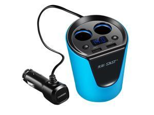Multifunction Auto Car Dual USB Charger Adapter Cup Shaped for iPhone iPad Galaxy Android Smartphone (Blue)