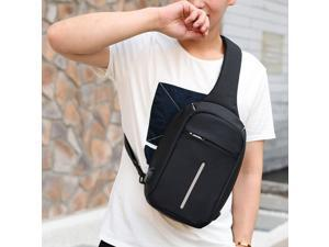 Men Messenger Bags Crossbody Slings Shoulder Chest Bags Anti-theft Strap Back Packs laday Casual External USB Charge Travel Bags (Light Gray)