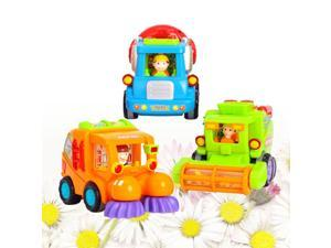 3 Pcs Friction Powered Construction Vehicle Toys Car Toys Early Educational Toys for Baby Toddlers