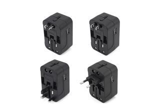 Travel Adapter Worldwide All in One Universal Power Converter AC Power Plug Adapter Power Plug Wall Charger with Dual USB Charging Ports for Charging EU US UK AU Cell Phone Computers (Black)
