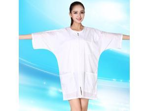 1pc Short Sleeve Work Clothes Hairstylist Apron Salon Zipper Tops Barber's Clothes Waterproof Cape (White)